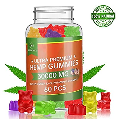 Hemp Gummies 30000MG - 100% Natural Hemp Oil Infused Gummies for Pain, Anxiety, Stress & Inflammation Relief, Promotes Sleep & Calm Mood by TEPNICAL