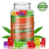 Hemp Gummies 30000MG - 100% Natural Hemp Oil Infused Gummies for Pain, Anxiety, Stress & Inflammation Relief, Promotes Sleep & Calm Mood