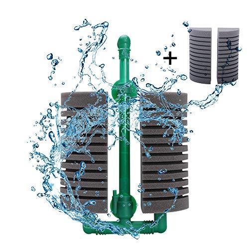 Decdeal Dubbele kop Aquarium sponsfilter Aquariumfilter met zuignap voor biologische en mechanische filtering incl. reservespons