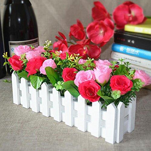 Flikool Roses Künstliche Pflanzen mit Weiß Zaun Gefälschte Künstliche Blumen mit Topf Simulation Topfpflanzen Bonsai Kunstblumen Kunstpflanzen Ornaments Dekorationen - Rose Pink