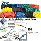 164pcs / Set Tubo termorretráctil Termoretractil Kit de manga de cable de alambre con aislamiento de poliolefina encogible surtido