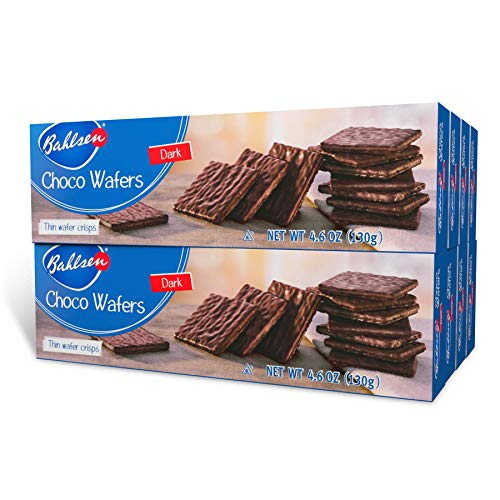 Choco Wafers (aka Afrika) Dark Chocolate Cookies (8 boxes) by Bahlsen- Wafers covered with European Chocolate - 4.6 oz boxes