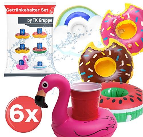 TK Gruppe Timo Klingler 6X Getränkehalter Mix aufblasbar Luftmatratze Schwimmring Schwimmreif für Pool, Wasser, Cocktailhalter, Bierhalter, Becher, Dosenhalter, Becherhalter Bier