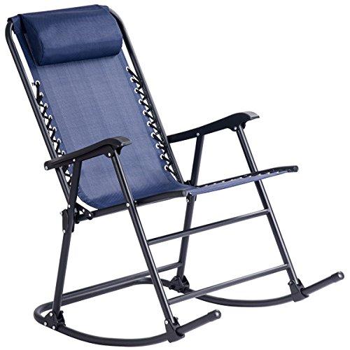 Blue Folding Zero Gravity Rocking Chair Rocker Armrest Comfortable Headrest Glider Porch Seat Backyard Patio Lawn Deck Outdoor Garden Pool Side Furniture Solid Steel Construction Ergonomic Design