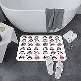 Alfombrilla de Baño Antideslizantes de 60X100 cm,Winter, Cute Penguins Hand Drawn Style Set F,Tapete para el Piso Lavable a Máquina con Microfibras Suaves Absorbentes de Agua para Bañera, Ducha y Baño