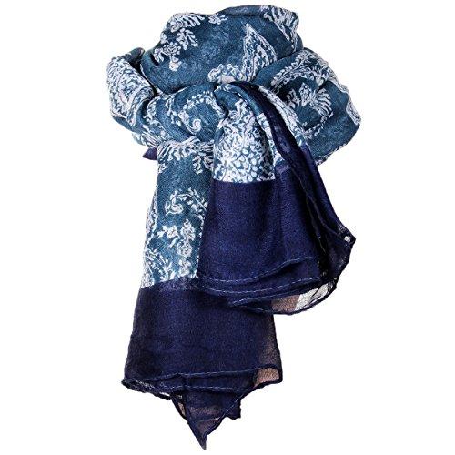 JewelryWe Bohemian-Stil Elegante Retro Druck Lange große Schal Halstuch Tuch SOMMERSCHAL Loopschal Damen Geschenke
