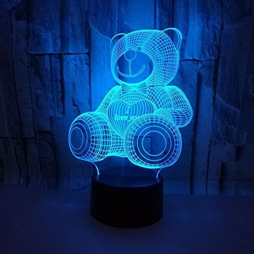 LG Snow lámparas Bear LED Colorful Gradient 3D Stereo Table Lamp Touch Remote USB Night Night Desk Mesita De Noche Decoración Creativa Decoración De Regalo