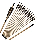 Huntingdoor 31inch Medieval Wooden Arrows with 5 inch Natural Feathers Vintage Premium Target Arrows for Recurve Bow or Longbow (Pack of 12)