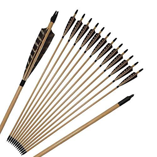TOPARCHERY Holzpfeile für Bogenschießen 12 Pfeile Holz Mit 5 Zoll Naturfedern Holzpfeile in Handarbeit