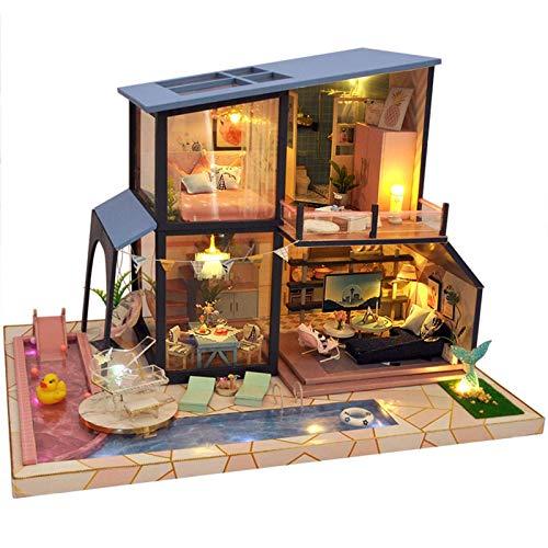 Casa de muñecas en miniatura con muebles, 3D DIY Casa de música de madera, caja de música China Loft Villa Piscina Modelo Modelo Modelo Montaje Cottage for niños Navidad / Año Nuevo / Birthahdy Regalo