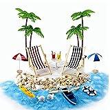 MIORIO 1 Juego de Regalo de Juguete para niñas para casa de muñecas para niños pequeños, Juego de decoración de Playa con Modelo de Paisaje, Tumbona, Palmeras, Pantallas de Escritorio