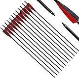 Narchery Tiro con Arco Flechas y saetas, 31' Pulgadas Arcos y Flechas para Caza o práctica, Incluye Flechas reemplazos, Tres Plumas Naturales, Hecho en Carbono Mixta, Color Negro y Rojo (12 pcs)