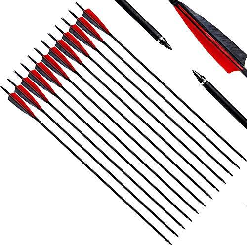 """Narchery Pfeile, 31 Zoll Bogenpfeile Carbon Pfeile für Bogenschießen mit 5\"""" Rot und Schwarz Naturfeder, Jagdpfeile für Bogen, Recurvebogen, Langbogen und Traditionellen Bogen (12er Set)"""