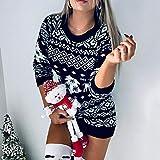 Suéter De Mujer,Tejido De Punto,Novedad Ugly Christmas Sweater Dress Mujeres Ciervo Cálido Patrón De Punto Jersey De Manga Larga Top Invierno Otoño Jerseys Tallas Grandes Mini Vestido, Negro, M