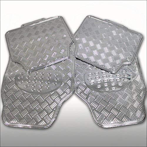 EUROXANTY®- Alfombrillas de Goma con Diseño Metalizadas Universales 4 Unidades (Plata)