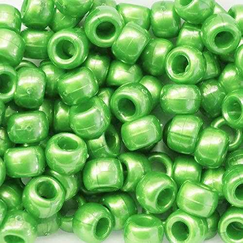 Green Pearl Crow Beads Pony Beads Made in USA 6x9mm Large Hole