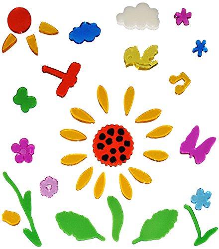 alles-meine.de GmbH 35 TLG. Set Gel Sticker / Aufkleber / Wandtattoo / Fensterbild - Sonnenblume Fenster Bad - wasserfest - selbstklebend Wandsticker Glassticker