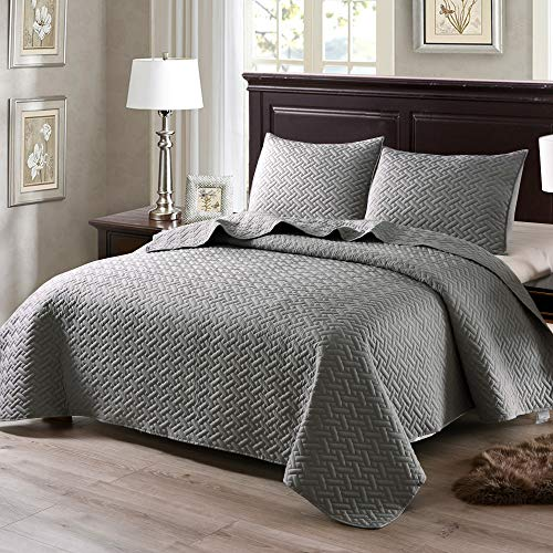 Exclusivo Mezcla 3-Piece Full/Queen Size Quilt Set with Pillow Shams, as Bedspread/Coverlet/Bed Cover(Solid Light Grey) - Soft, Lightweight, Reversible and Hypoallergenic