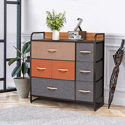 Crestlive Products Wide Fabric Dresser with 7 Drawers, Storage Tower, Large Capacity Organizer Unit...