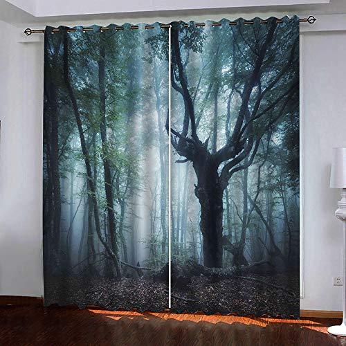 Gordijnen ondoorzichtig dieper bos verduisteringsgordijn oogjes gordijnen gordijn polyester ondoorzichtig koude-en warmte-isolatie gordijn slaapkamer set van 2 280cm Width x 180cm Drop