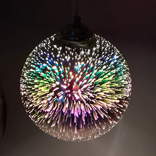 Lustre Coloré 3D LED Pendentif Lumières Miroir Boule de Verre Feu D'artifice Abat-jour E27 Base Suspension Lampe 20CM(Argent)