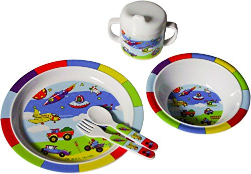 Bieco Baby Geschirrset Fahrzeuge   5-teiliges Baby Geschirr   Kindergeschirr aus Melamin   Geschirr Baby  für Kleinkinder   Baby Essen Set   Babygeschirr Set   bunt