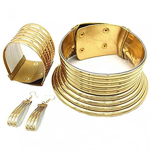 TOSSPER Sistemas De La Joyería 3pcs África Nacional Snap Gargantilla Collares Estilo Creativo Plástico Oro para Mujeres