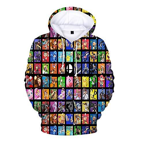Super Smash Bros Pullover Sweat à Capuche vêtements Parent-Enfant imprimé 3D Cartoon Manches Longues Pull Mignon Unisexe (Color : A03, Size : 180)
