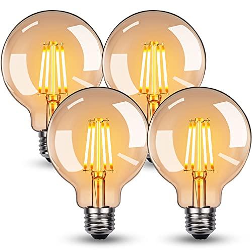 Bombilla Edison vintage, bombilla LED de color blanco cálido, E27, 4 W, G95, bombilla retro, ideal para nostalgia y iluminación retro en casa, cafetería, bar, etc. – 4 unidades