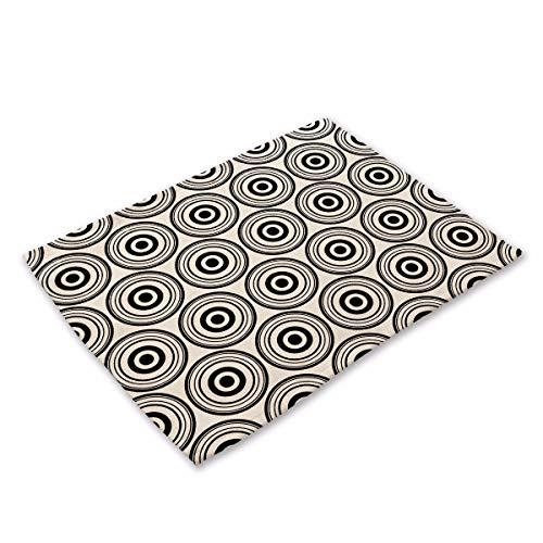 NoblePlacemat Einfacher Stil Tischsets,Geometrische abstrakte schwarz-weiß gestreiften Muster gedruckt Baumwolle westlichen Matte, D, (4 Stück) Platzdeckchen