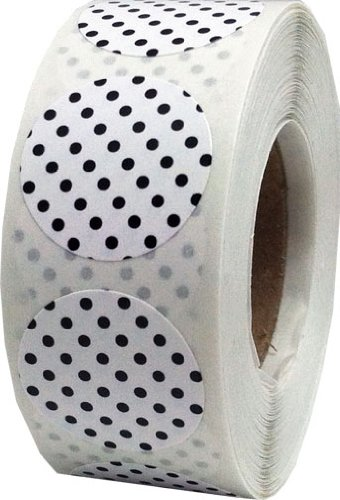 White with Black Polka Dot Color Coding Labels for Organizing Inventory 0.75 Inch Round Circle Dots 500 Total Adhesive Stickers On A Roll