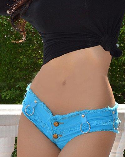 Zhanying Sexy Denim Booty Shorts Borla de Malla Empalmado Mallas Bikini Lindo Diseño de Moda Jeans Sexy Jeans Shorts Low Rise Beach Micro Mini Corto Erótico Culb Wear (Color : Blue, Size : S)