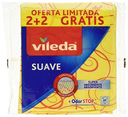 Vileda Suave Bayetas con 30% Microfibras - 4 Unidades (Oferta 2 + 2)