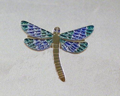 Mainly Metal Métal Émail Broche Libellule en Bleu