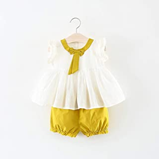 TZOU Girl Children Kids Cotton Sleeveless Bowknot Collar Tops+Shorts Two Piece Suit Outfit Yellow 70cm