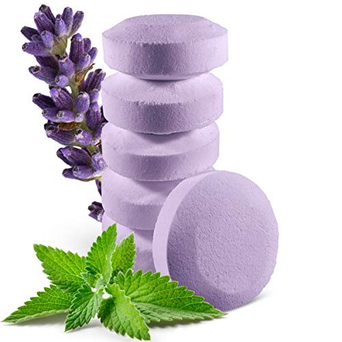 6 Organic Lavender Shower Steamers with Menthol Crystals and Essential Lavender Oil - Strong and Last Lasting Aroma - 2 oz/Each