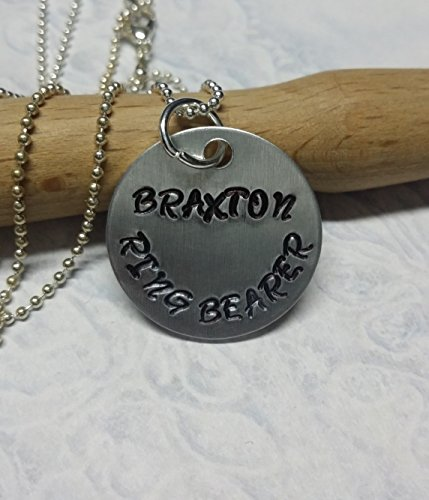 Hand Stamped Personalized Ring Bearer Necklace
