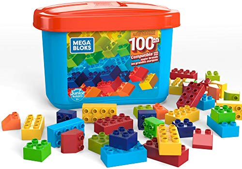 Mega Bloks OpenEnded Play Brick Box for Junior Builders: Building Toys for Creative Play 100 Pieces