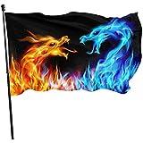 Garten Flagge Abstrakte Blaue Und Rote Feurige Drachen Garten Flagge Rasen Yard Banner Garten Flagge Langlebigen Strand Fahnen Fly Breeze Einfach Zu Bedienen Yard Flag House Flag Lebendige...