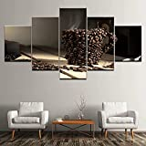 GUANGWEI 5 HD Lienzo sobre Lienzo Taza De Café En Grano Sala De Estar Dormitorio Decoración Creación Murales Y Carteles con Marco 150 × 80 Cm