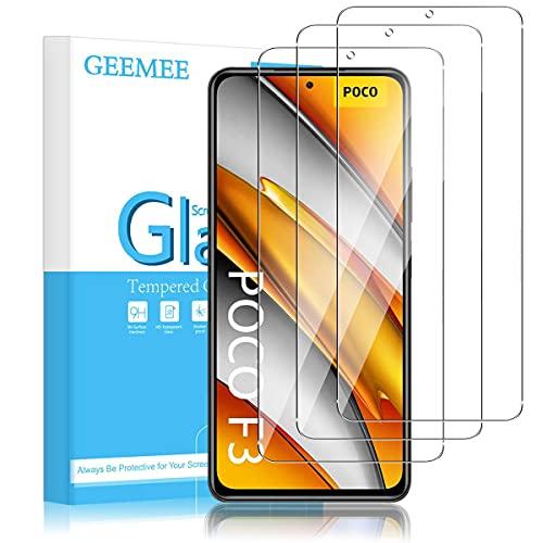 GEEMEE Kompatibel mit Redmi Note 10 Pro/Pro Max/Xiaomi Mi 11i 5G/Poco F3 Panzerglas Schutzfolie Bildschirmschutzfolie, 9H Filmhärte Gehärtetem Schutzglas Hohe Empfindlichkeit Bildschirmschutzfolie