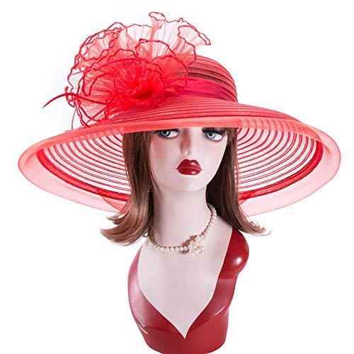 Pamelas Y Sombreros Playa Vestido De Plumas De Crin Floja para Mujer Vestido De ala Ancha Iglesia Boda Kentucky Derby Sun Bridal Oaks Day Hat