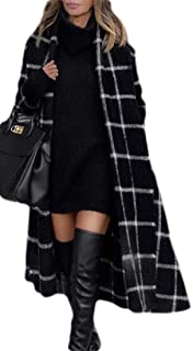 Womens Open Front Plaid Wool Blend Trench Coat Jacket Outwear with Belt