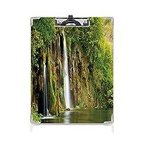 フォルダーボードフォルダーライティングボード 自然 事務用品の文房具 (2パック)国立公園の川に流れる雄大な滝新鮮な風景装飾緑茶色白