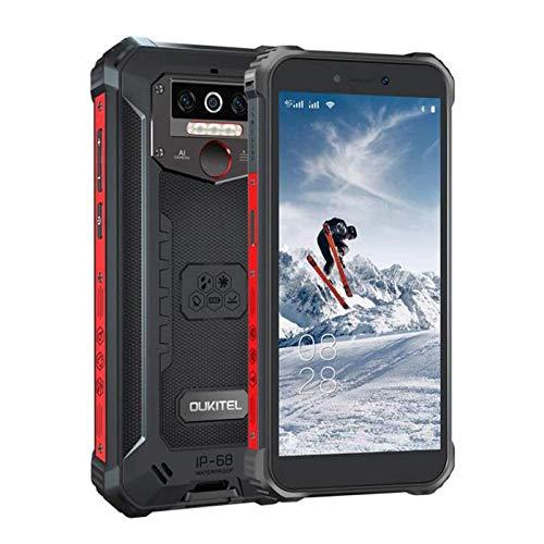 OUKITEL WP5pro-4G Outdoor Smartphone ohne Vertrag,5.5 Zoll 8000mAh Akku MTK6762 4GB + 64GB, IP68 Robustes Handy,Android 10.0,Triple Kamera,Gesichtserkennung(Schwarz)