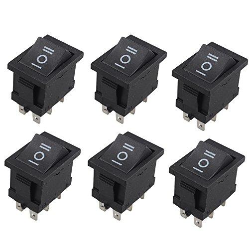 6個ボートロッカースイッチAC 6A / 250V 10A / 125V 12V 6ピンDPDTオン/オフ/オン21X15mmパワースイッチ