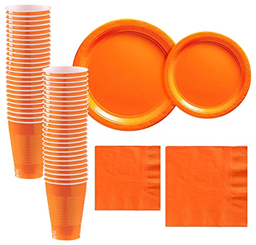 Party City Orange Paper Tableware Party Supplies for 50 Guests, Include 2 Sizes of Plates, 2 Sizes of Napkins, and Cups