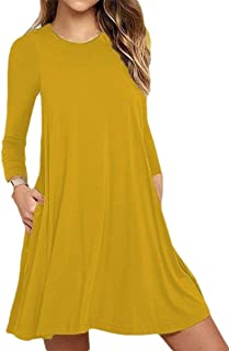 Women's Casual Loose Fit Long-Sleeves Pocketed T Shirt Dress