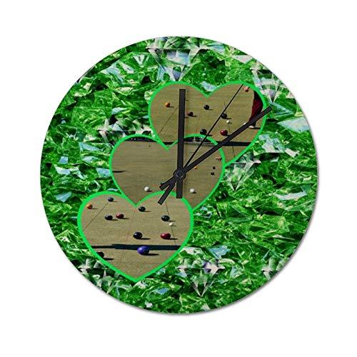 Relojes de Pared Redondos silenciosos de 25 CM, Cuenco de césped Verde con diseño de corazón Relojes de PVC Decorativos para Sala de Estar, Funcionan con Pilas