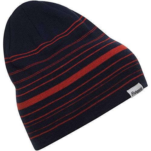Bergans Striped Beanie Gestreift-Blau-Rot, Merino Kopfbedeckung, Größe One Size - Farbe Navy - Red Sand